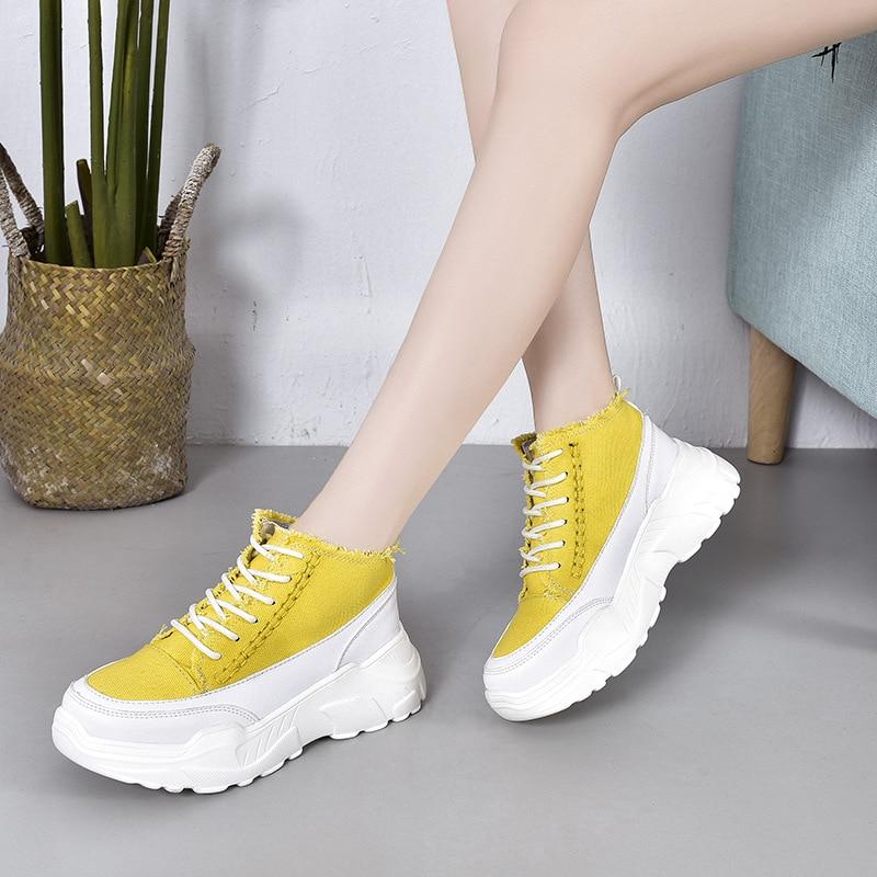 Negro Ocio Mujer Alta Zapatillas Primavera amarillo Plataforma Colores Med vulcanizar rojo rosado Zapatos Con Encaje Moda Mezclados De Único Otoño Deporte FTdagTq