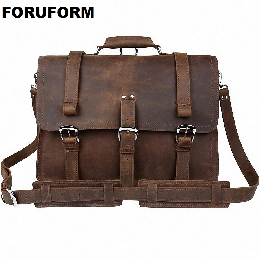 Newest High Quality Crazy Horse Mens Vintage Genuine Leather Messenger Shoulder Bag Briefcase 15.6 Laptop Case bgs LI-645