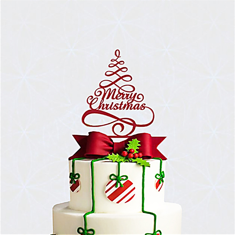 Christmas Cake Decorations.Us 4 49 10 Off Merry Christmas Cake Topper Selection Color Shiny Red Or Mirror Gold Christmas Cake Decorations Christmas Party Decorations In