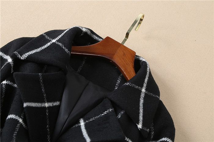 De Livraison Des Unique Blanc Qualité Taille Manteaux Top Manteau Noir Marque Gratuite Plaid Femmes Poitrine Laine D'hiver Xl Multi Haute FulK1JT35c
