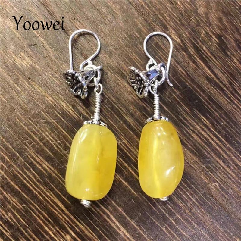 Boucles d'oreilles en ambre naturel de la baltique Yoowei pour femmes S925 fleur en argent véritable perles de miel boucles d'oreilles cadeaux bijoux en ambre en gros