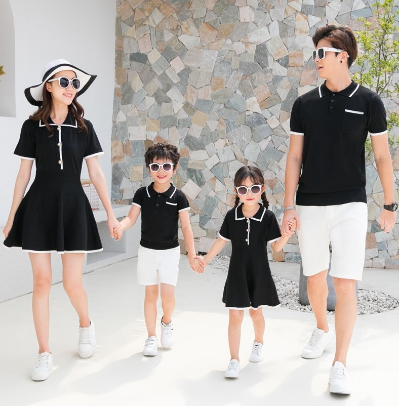 Stand Collar Family Matching Clothes Outfits Look Mother Daughter Dresses Dad Son Tshirt Mommy And Me Clothes Mom Mum Baby Dress