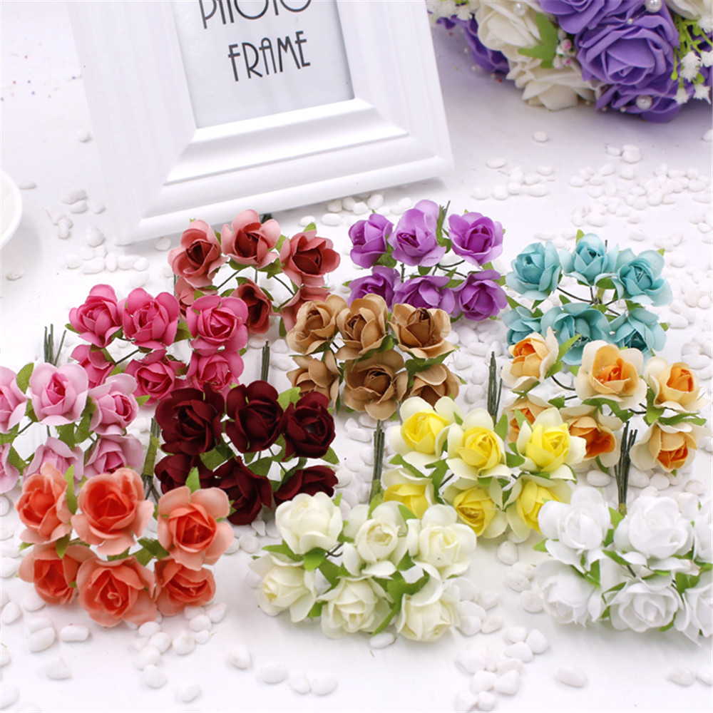 Cheap 6pcsbunch 2cm new diy mini rose bouquet simulation of foam cheap 6pcsbunch 2cm new diy mini rose bouquet simulation of foam flowers with gauze hand decorative flower wholesale in artificial dried flowers from izmirmasajfo