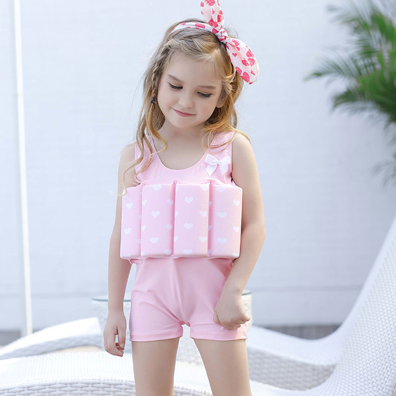 2017 new pink love Buoyant swimsuit children kid girls swimwear baby girl bodysuit floating swimming pool swimwear bikini 321