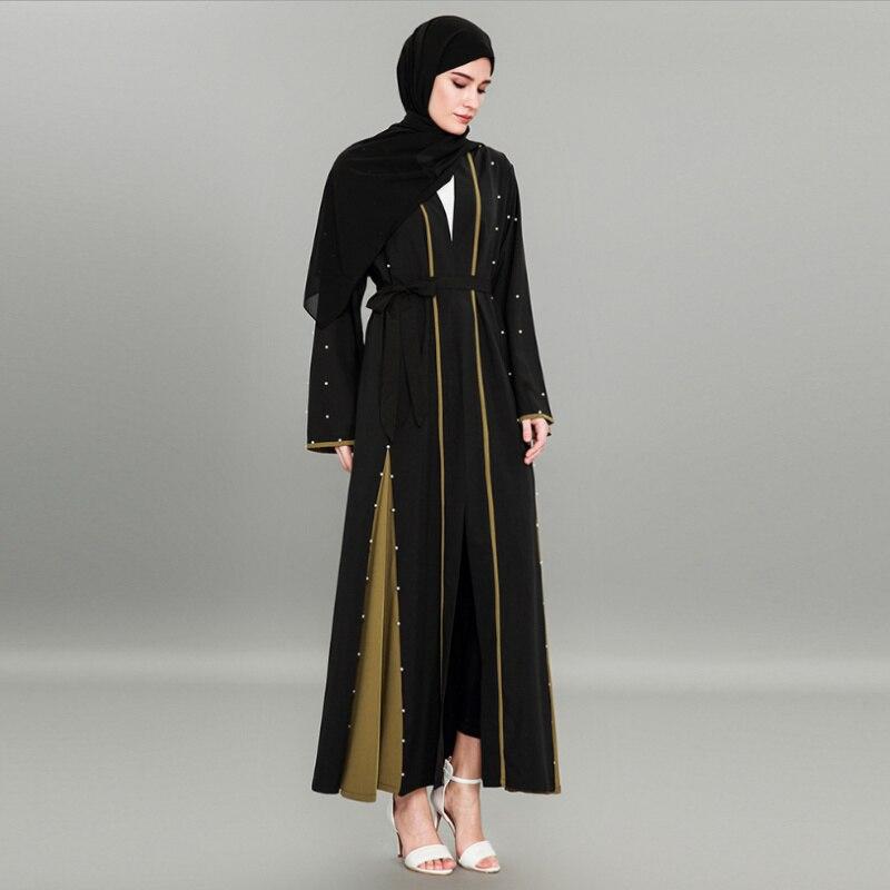 Fashion Muslim Abaya Beading Cardigan Lace Maxi Dress Long Robe Gowns Tunic Kimono Ramadan Arab Islamic Clothing Worship Service
