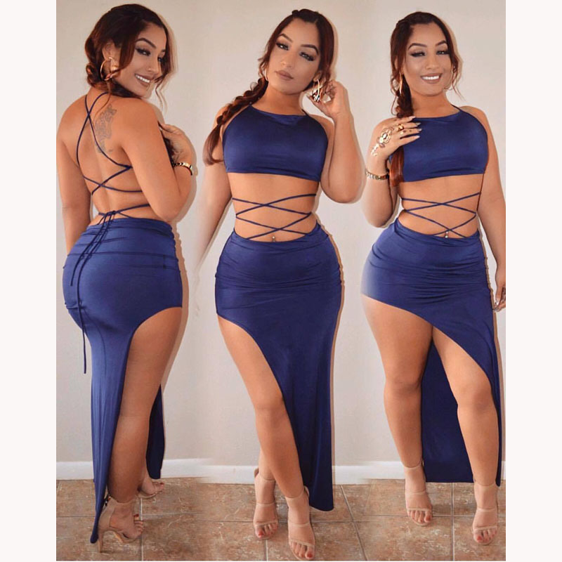 6390da623999 2017 summer set women two piece outfits crop top and skirt set sleeveless  sexy club night party femme vestidos strapless solid -in Women's Sets from  Women's ...