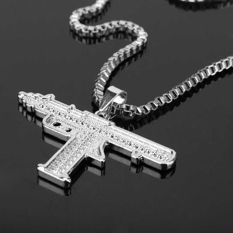 جديد حجر الراين عوزي بندقية قلادة مسدس رشاش قلادة طويلة الكوبية ربط سلسلة قلادة الموضة للرجال الهيب هوب مجوهرات