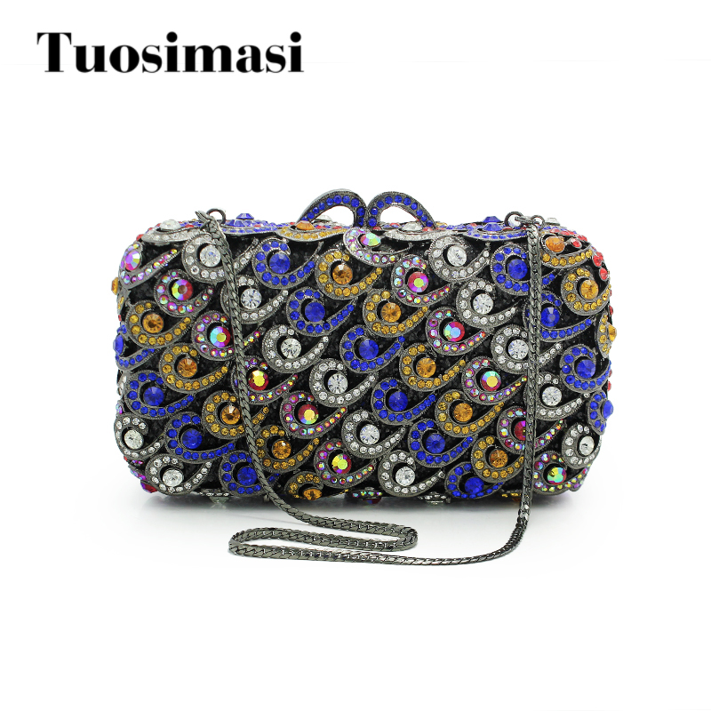 Metal Clutch Bag Gold and Blue Crystal Evening Bags Hollow Out Rhinestones Handbags Wedding Clutches Purse Women Bag(88161A-BG) stylish hollow out and metal design sunglasses for women