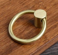 Pure Copper Drop Ring Pulls Gold Brass Dresser Knobs Drawer Pull Handles Knob Kitchen Cabinet Handle