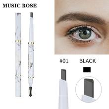 MUSIC ROSE Eyebrow pencil 2 in 1 Cosmetics Makeup Double Head Pencil Waterproof Long Lasting Liquid Enhancer