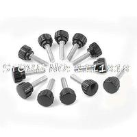 12 X Black 5mm M5 Male Thread Dia Plastic Screw On Round Knurled Knob