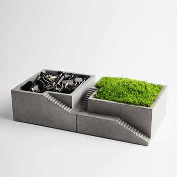 silicone mold Concrete Square with stairs flower desktop moss bonsai cement multi-flower pots home furnishings mould handmade m 1