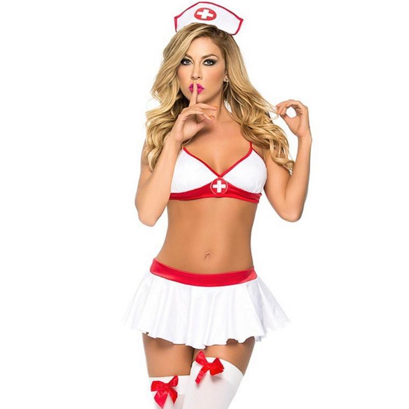 3pcs/set Sexy Nurse Bra Pleated Dress Women Perspective Erotic Lingerie Erotic Cosplay Porno Sex Underwear Dropshipping