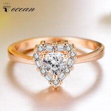 Tocean oro rosa Color lindo anillos de boda románticos para las mujeres corazón AAA Zircon compromiso de moda Bijoux Bague tamaño 6- 9 W122