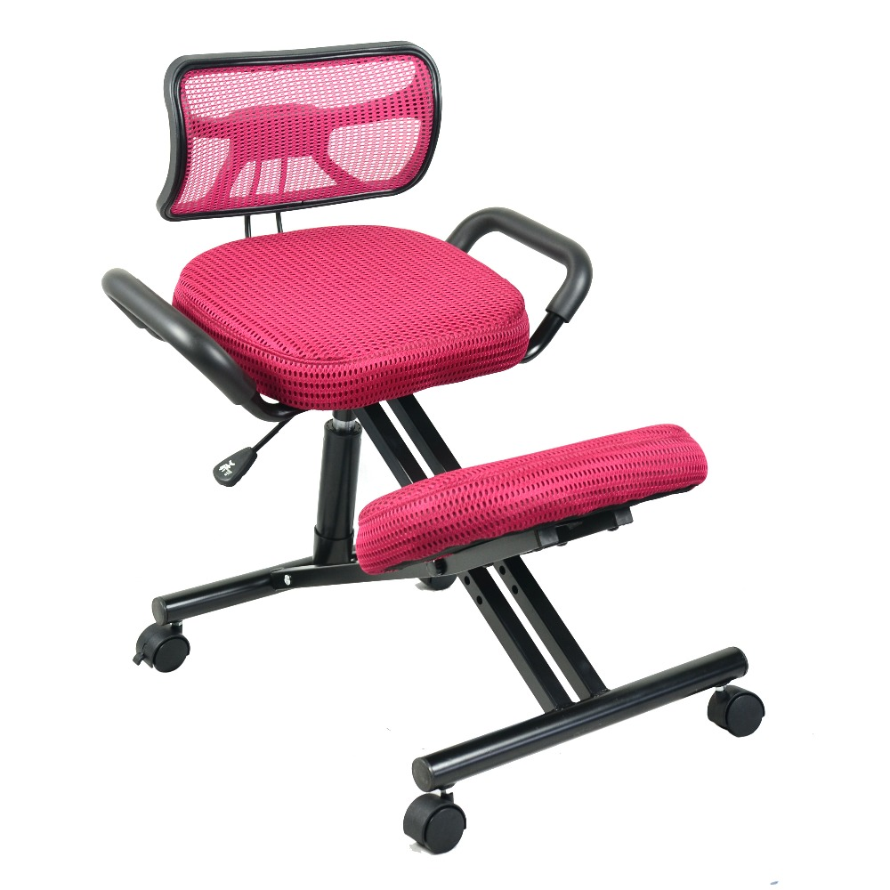 Ergonomically Designed Knee Chair with Back and Handle Mesh Fabric Caster Office Kneeling Chair Ergonomic Posture Chair Office comforty pz 6039