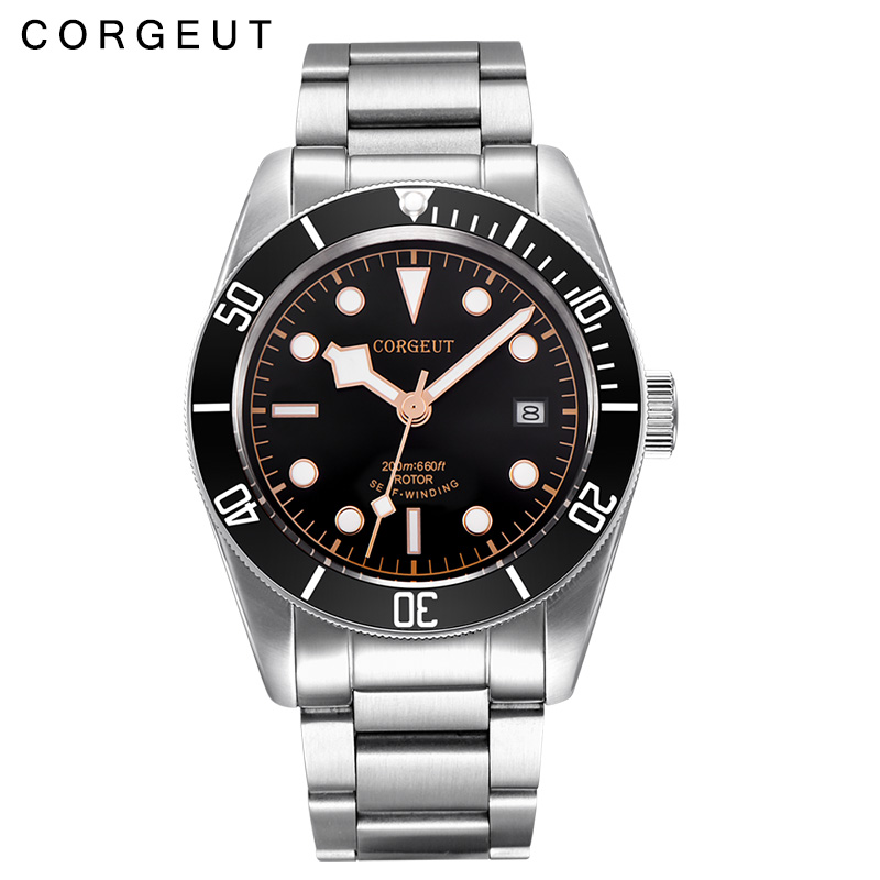 41MM Corgeut Sapphire glass black dial stainless steel strap Japan Miyota Automatic mens wrist Watch polisehd 41mm corgeut black dial sapphire glass miyota automatic mens watch c102