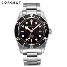 6de1b175c3e 41 MM Corgeut vidro de Safira black dial aço inoxidável correia Japão  Miyota Automáticos dos homens do Relógio de pulso