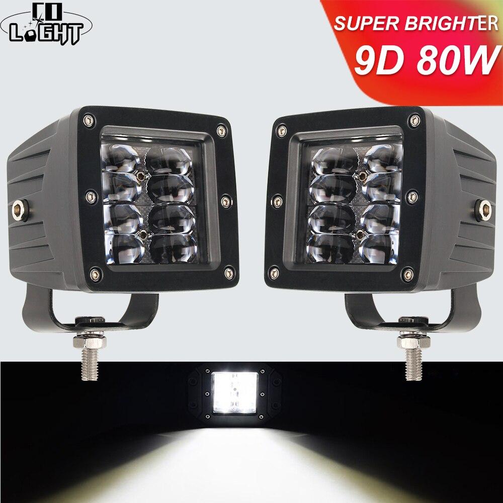 CO LIGHT 9D 3 Inch 80W LED Work Light High Power Strobe DRL Floodlight For 4x4 Offroad ATV UTV Truck Tractors Motorcycle 12V 24V