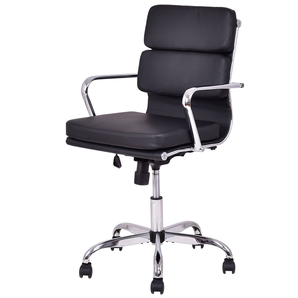 Giantex Low Back PU Leather Executive Office Chair Computer Desk Task Gaming Chair Swivel Modern Black Armchairs HW55516