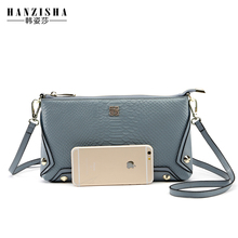 2017 HANZISHA Brand Serpentine pattern Leather Women Messenger Bag Genuine Leather Shoulder Bag Rivets Small Women Crossbody Bag