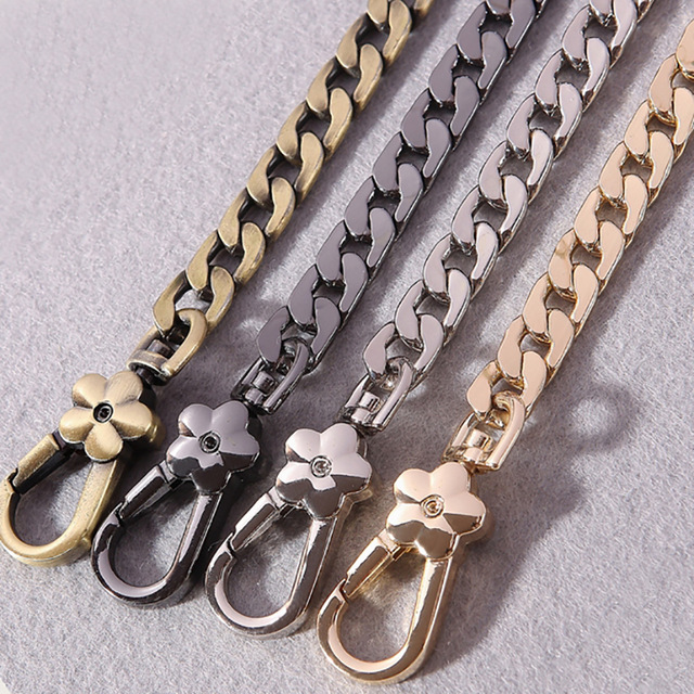 Caker Brand 2019diy Metal Replacement Chain Shoulder Bag Straps 9mm Gold Silver Gun Black Brushed Bronze Handbag Purse Handle
