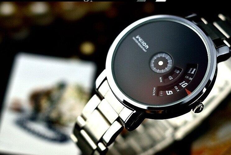 Fashion Brand   Wristwatches Wheel Dial Men's Quartz Watch Stainless Steel Sports Watch White Black 5112502Q