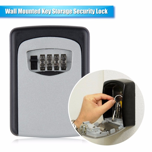 Key Storage Organizer Box Safe Boxs Security Lock Cabinet With 4 Digital  Wall Mounted Combination Keys
