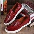 Sapatos de barco Mens Sapatos Casuais Grão Cheio de Couro Simplicidade Simples Estilo Britânico Sapatos Slipon Couro Macio Sólida Juventude Na Moda