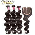Brazilian Virgin Hair With Closure Body Wave Free&Middle&3 Part Lace Closure With Bundles Cheap Brazilian Body Wave With Closure