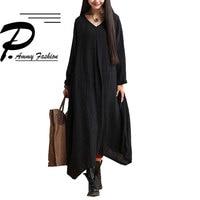 Fashion Oversized Linen Cotton Irregular Hem Long Dress V Neck Maxi Long Sleeve Womens Lady Autumn