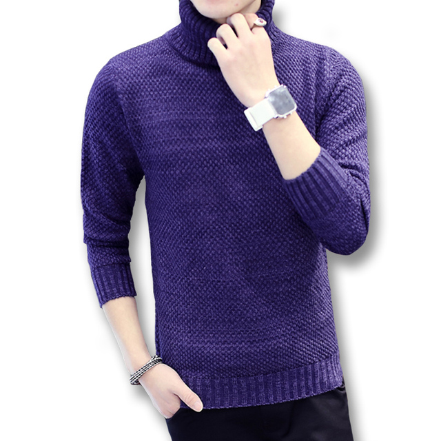 2016 New Men Turtleneck Sweaters Pullovers Outwear Men's Casual Fashion Slim Fit Long Sleeved Knitted Winter Sweaters Pullovers