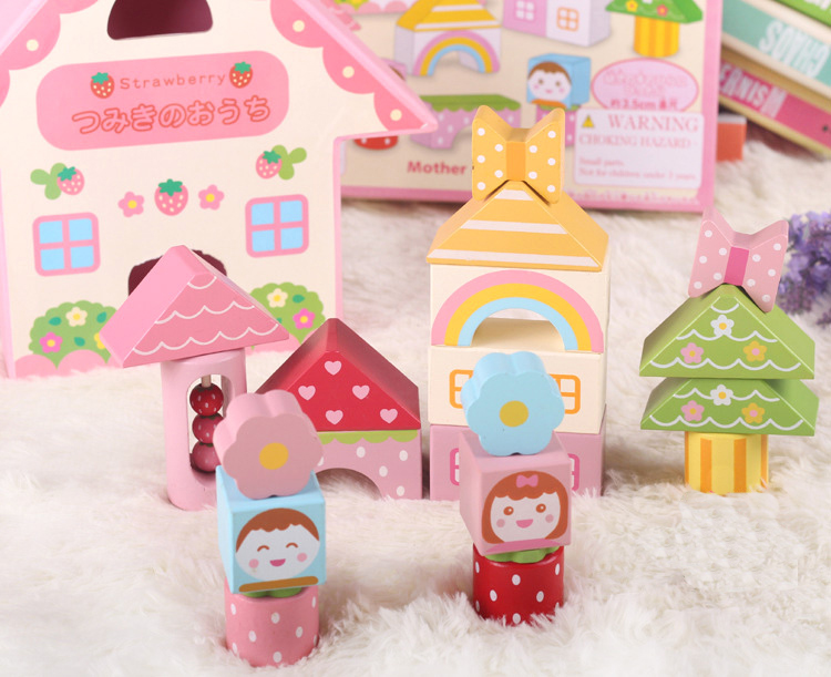 MamimamiHome Baby Wooden Montessori Toys Pink Sound Building Blocks Children Early Education Situational Creativity Blocks mamimamihome baby wooden montessori toys pink sound building blocks children early education situational creativity blocks