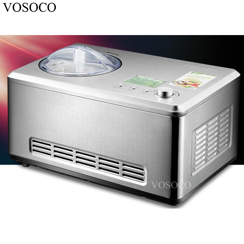 VOSOCO Ice cream machine household automatic 2L Stainless steel ice cream machine refrigerator Fast refrigerating compressor cukyi household electric multi function cooker 220v stainless steel colorful stew cook steam machine 5 in 1