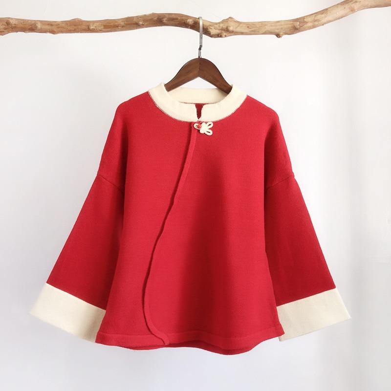 Automne rouge Chandails Vintage Rouge Chandail Tricot Flare Femmes Pulls or Manches En Hiver cou Femme Noir O 5qgaxnwfT