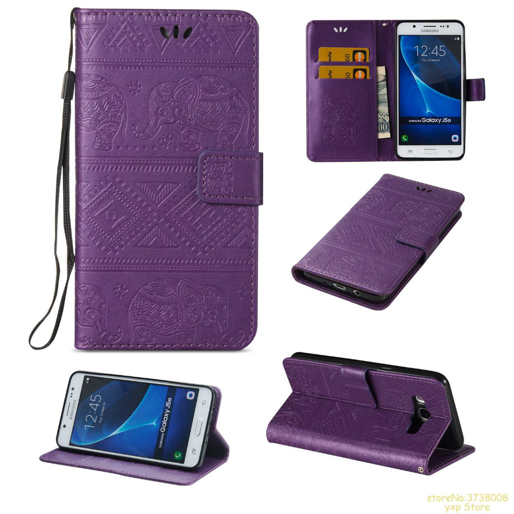 high Quality Elephant pattern Retro PU leather Flip Wallet phone cover For Samsung J5 2016 J510