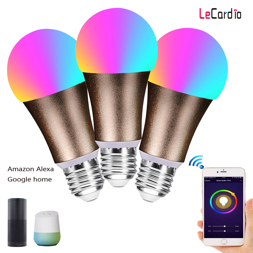 3 PC Pack vendre Smart wifi LED ampoule magique 7 W E27 E26 B22 lampe de scène maison intelligente multicolore Compatible avec Alexa google Home