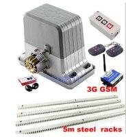 DHL freies 1800KGS Schiebe Tor Motor Heavy Duty Tor Öffner mit 5m stahl racks  3G GSM  taste und tür sensor|Zugangs Control Kits|Sicherheit und Schutz -