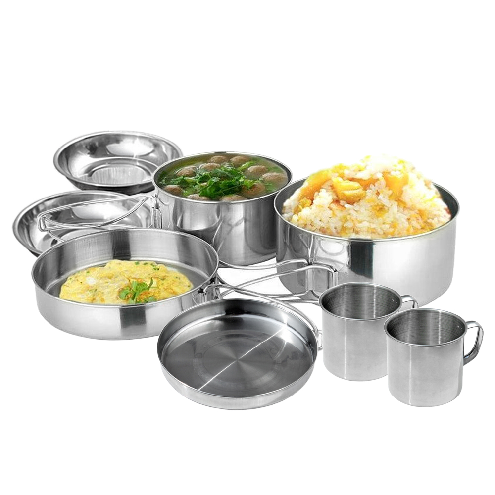 Image 2 - 6 PCS Outdoor Pot Set Camping Soup Coffee Water Cups Stainless Steel Cooking Pans Plates Set for 1 2 People Outdoor Tableware-in Outdoor Tablewares from Sports & Entertainment