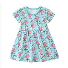 Vestidos for Girls Summer Dress Princess Dress Children Cartoon Costumes for Kids Clothes Flamingo Girl Dresses new 2017 summer autumn girl dress stripe cartoon cute children dresses side 2 pockets cotton vestidos girls clothes kids costume