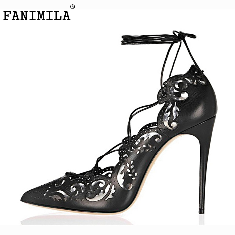 ФОТО Size35-46 Shoes Woman High Heels Pumps Sexy Cut-outs Women Shoes Lace up High heels Pointed Toe Dress Shoes Heeled Footwear B177