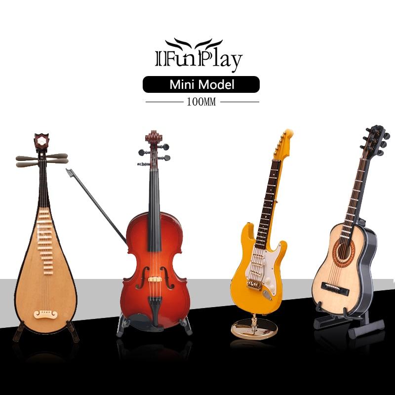 mini guitar miniature electric guitar model violin pipa classical guitar model with case stand. Black Bedroom Furniture Sets. Home Design Ideas