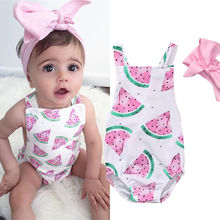 Watermelon romper with bow tie