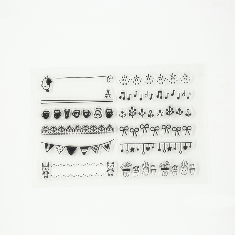 music and cup design Transparent Clear Stamp DIY Silicone Seals Scrapbooking Card Photo Album Decor for wedding gift TM-016 rubber seals for fluid and hydraulic systems