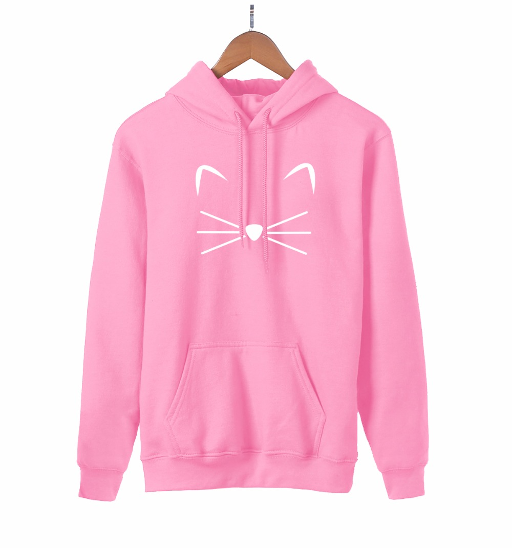 Kawaii Kitty Kitten Meow Cat Print Anime Hoodie 2019 Spring Autumn Cute Sweatshirt Women Pink Hoodies Harajuku Women's Pullovers