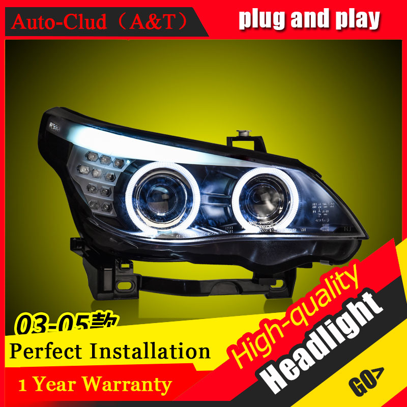 Auto Clud Car Styling For BMW E60 headlights 03 06 / 07 10 For E60 head lamp led DRL front Bi Xenon Lens Double Beam HID KIT