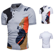 Large Size Cotton Camouflage Print Short-sleeved Summer POLO Shirt  for Men
