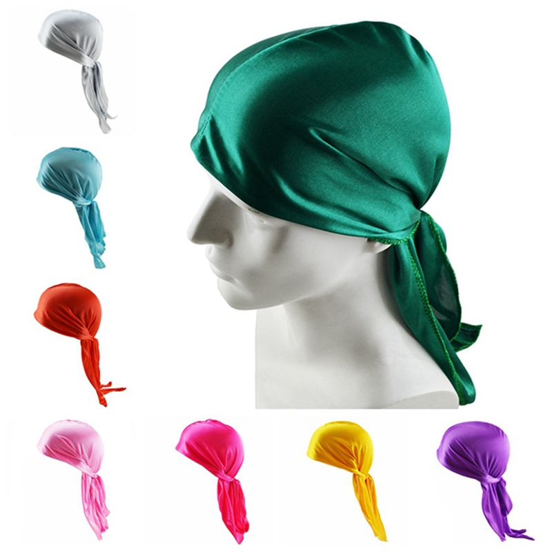 Unisex Men Women Headwear Headwear Soft Silk Pirate Cap Wrap Headwrap Hip Hop Rock Head Scarf