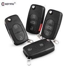 KEYYOU – coque de clé télécommande pliable à 2/3/4 boutons, pour VW Volkswagen Jetta Beetle Golf Passat Polo Bora Touran CR1616