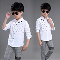 2016 autumn new boys white shirt Korean five-pointed star fashion floral cotton long-sleeved shirt boy
