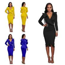 Women Summer Skirt 2018 Ruffle V Neck Elegant Yellow Black White Tunic Robe Sexy Skirts Clothes Vestidos Bodycon Skirt WF204(China)